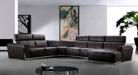 Divani Casa Tempo Large Sectional Sofa in Brown Leather