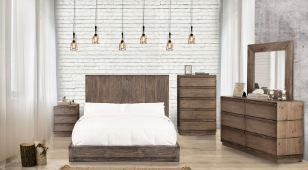 Amarante Modern Bedroom Set in Rustic Natural Tone