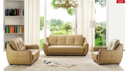 ESF 2088 Modern Living Room Set in Beige Leather