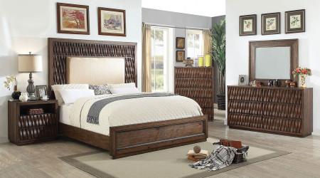 Eutropia Bedroom Set in Warm Chestnut and Beige