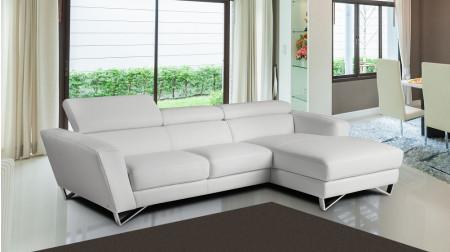 Sparta Mini Sectional Sofa in White Italian Leather