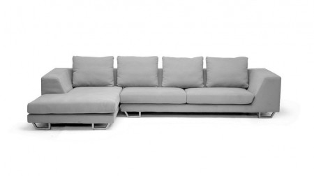 6301 Cream Twill Fabric Sofa Chase Sectional