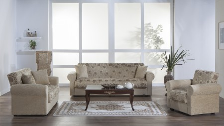Elita Sofa Bed Living Room Set in Yasemin Beige