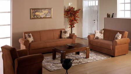 Elita Sofa Bed Living Room Set in Rainbow Brown