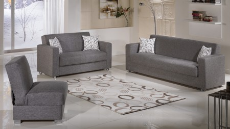 Tokyo Convertible Living Room Set in Diego Grey