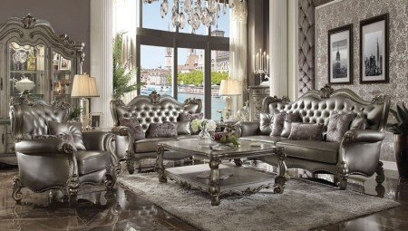 Versailles Living Room Set in Silver