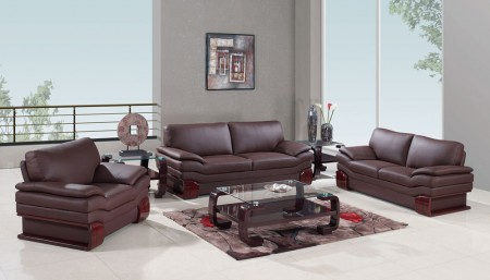 Global Furniture 728 Living Room Set in Brown Leather