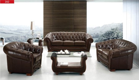 262 Living Room Set in Brown Full Top Grain Leather
