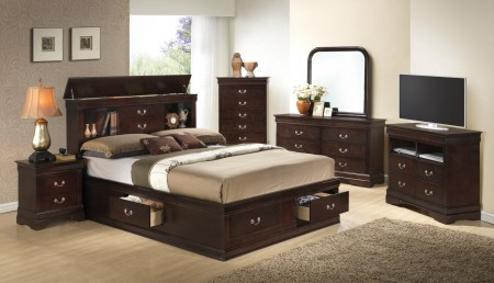 Bookcase Bed Cappuccino Storage Bedroom Set G3125B