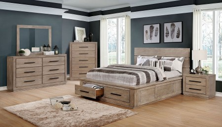 Oakes Traditional Bedroom Set in Light Gray