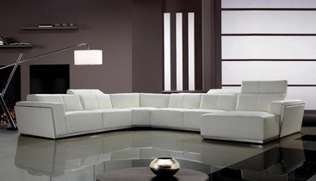 Divani Casa Tempo Large Sectional Sofa in White Leather