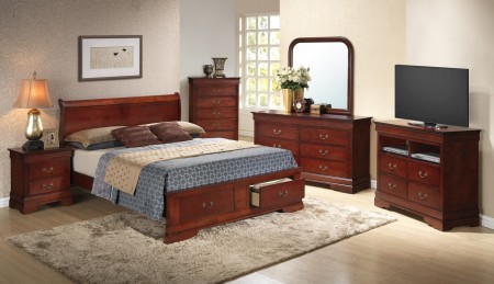 Cherry Finish Low Profile Bed Set G3100D Glory Furniture