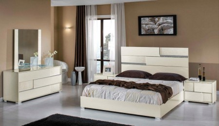 Ancona Modrest Italian Bedroom Set in Beige High Gloss