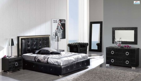 Coco Black Leather Storage Bed Queen or King Bedroom Set - Dupen Spain