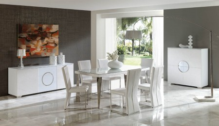 Coco White Leather Dining Room Set by Dupen Spain