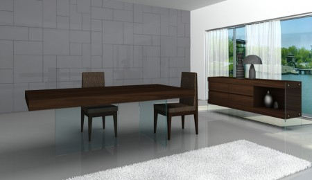 Float Chocolate Dining Room Set with Clear Glass Base
