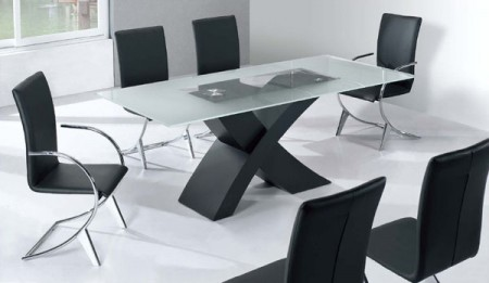 222 Crisscross Legs Large Contemporary Dining Set