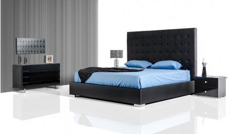 Lyrica Bedroom Set in Black Finish with Tall Headboard