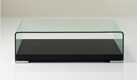 159A Modern Coffee Table in Dark Brown Wood and Glass