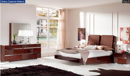 Caprice Italian Bedroom Set in Walnut Lacquer Finish
