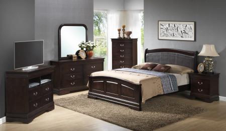 Solid Wood Dark Brown Bedroom Set G3125C Glory Furniture
