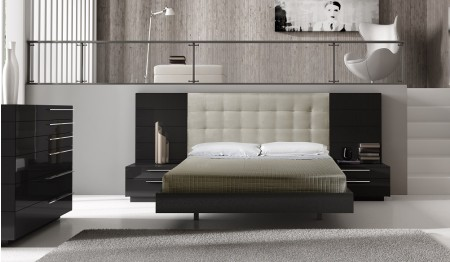 Santana Modern Bedroom Set in Brown Lacquer Finish