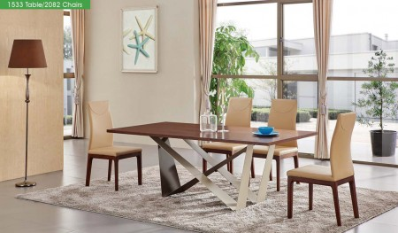 1533 ESF Modern Dining Room Set in Brown Finish