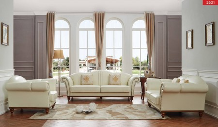 2601 Classic Living Room Set in Ivory Leather