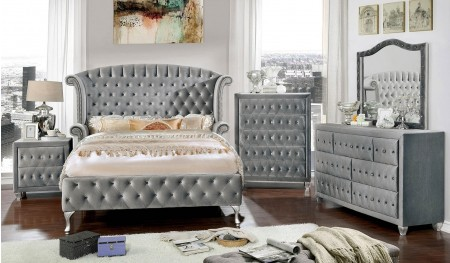 Alzir Bedroom Set in Gray Velvet and Crystals