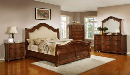 Davina Sleigh Bedroom Set in Cherry Finish by Homelegance