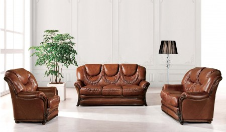 ESF 67 Living Room Set with Sleeper in Brown Leather
