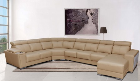 8312 Sectional in Beige Leather with Poufs and Cup Holders