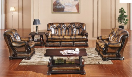 Oakman Sleeper Living Room Set in Brown Full Leather