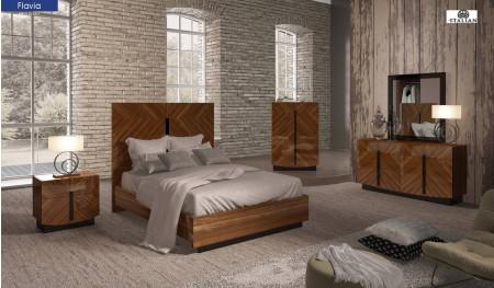 Flavia Modern Italian Bedroom Set in Wood Finish