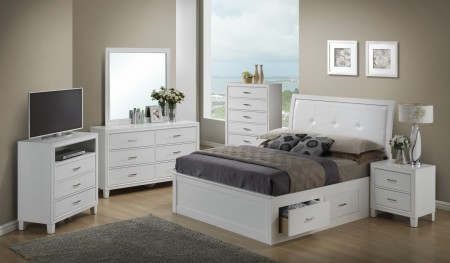 Storage Bed White Bedroom Set G1275B Glory Furniture
