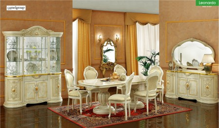 Leonardo Italian Dining Room Set in Ivory Lacquer Finish