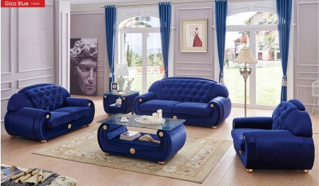 Giza Blue Fabric Living Room Set by ESF Furniture