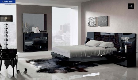 Marbella Bedroom Set in Black Lacquer Made in Spain
