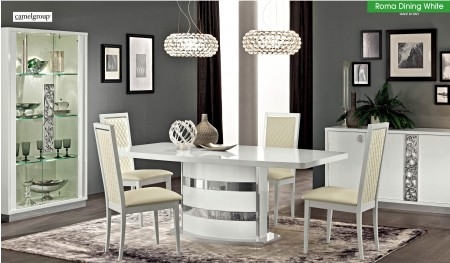 Roma Italian Dining Room Set in White Lacquer