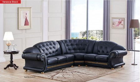 Apolo Classic Sectional Sofa in Black Italian Leather