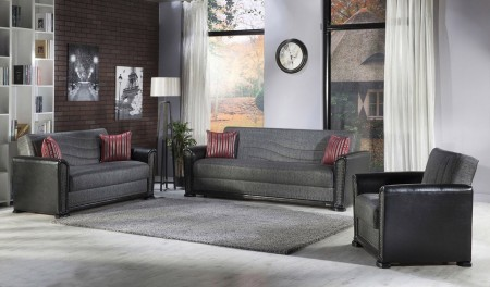 Alfa Living Room Set in Redeyef Fume with Sofa Bed