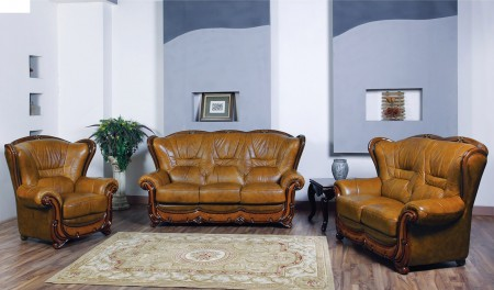 ESF 100 Classic Living Room Set in Brown Leather