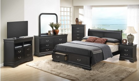 Black Finish Wood Traditional Black Bedroom Set G3150D