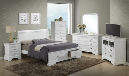 Elegant White Bedroom Set G3190D with Storage Bed