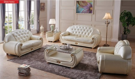 Giza Living Room Set in Ivory Full Leather