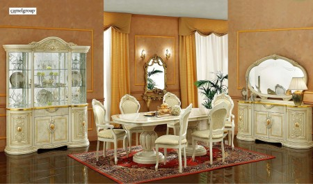 Leonardo Italian Dining Room Set in Ivory Finish