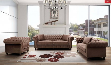 ESF 108 Classic Living Room Set in Brown Fabric