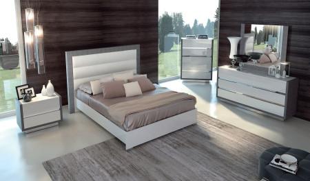 Mangano Italian Bedroom Set in White and Silver Finish