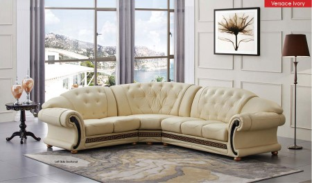 Apolo Sectional Sofa in Ivory Italian Leather