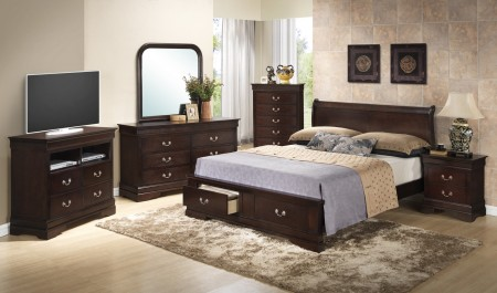 Cappuccino Finish Bedroom Set G3125D with Storage Bed